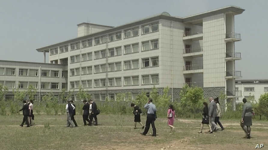 FILE - a building at the Pyongyang University of Science and Technology.