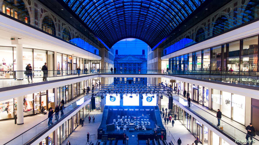 A general view shows the atrium of the Mall of Berlin shopping center during its opening night in Berlin, Germany, Sept. 24, 2014.