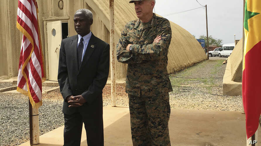Gen. Thomas D. Waldhauser, right, commander of U.S. Africa Command, is joined by U.S. Ambassador to Senegal Tulinabo S. Mushingi on a tour of a cooperative security location Camp Cisse where the U.S. maintains a small site that allows for U.S. milita