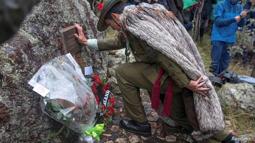 A supplied image of Royal New Zealand Army officer Colonel Glenn King lays a wreath during the Indigenous Anzac Day commemoration event held on Mount Ainslie in Canberra, Australia, April 25, 2017.