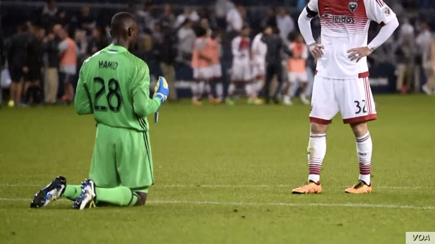 DC United goalkeeper Bilal Hamid prays on the field. (Image taken from video courtesy DC United)
