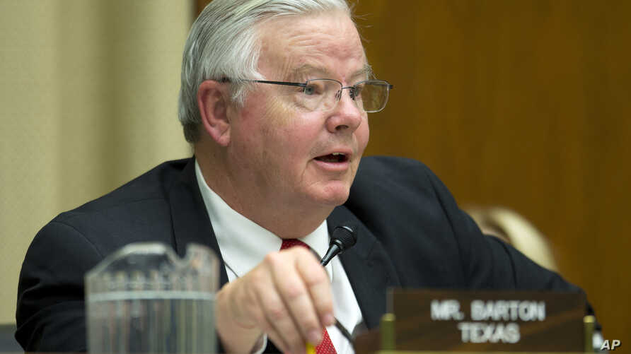 FILE - Rep. Joe Barton, R-Texas during a testimony on Capitol Hill in Washington before the House Energy and Commerce subcommittee on Oversight and Investigation, April 1, 2014 file photo.