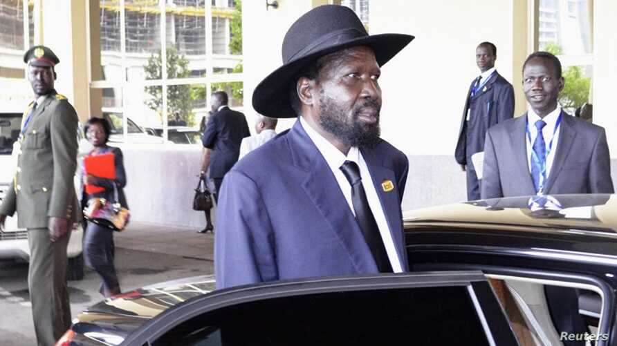 South Sudan's President Salva Kiir arrives at a leaders meeting at the African Union (AU) in Ethiopia's capital Addis Ababa July 14, 2012.