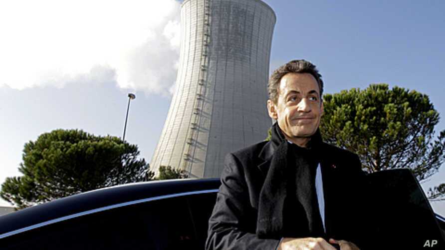 France's President Nicolas Sarkozy arrives for a visit to the nuclear power plant site of Areva in Tricastin, southern France, November 25, 2011.