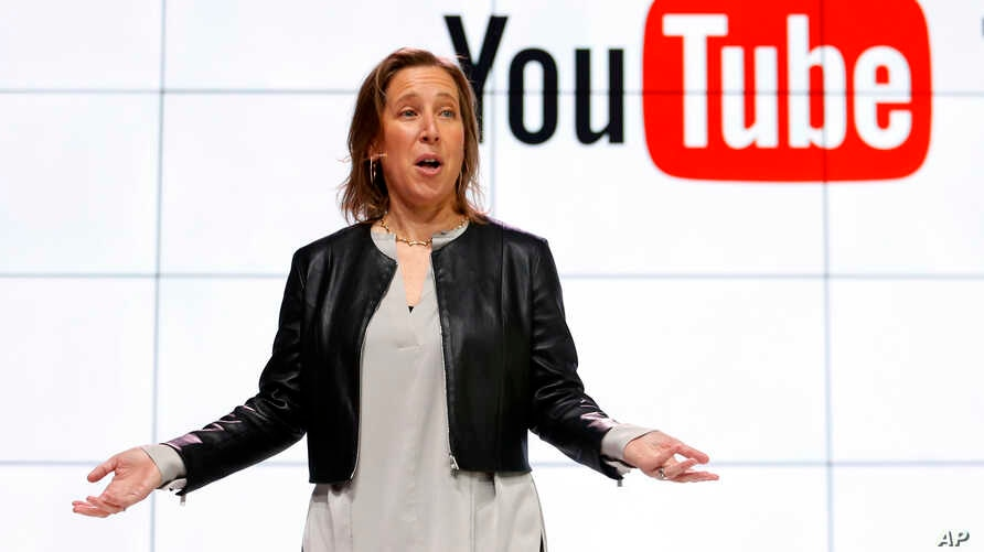 FILE - In this Feb. 28, 2017, file photo, YouTube CEO Susan Wojcicki speaks during the introduction of YouTube TV at YouTube Space LA in Los Angeles.