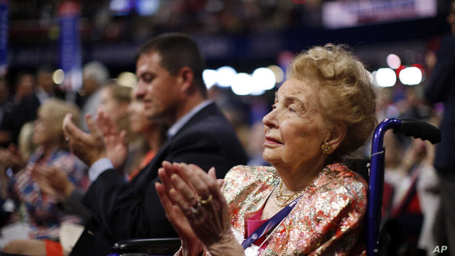 FILE - Missouri delegate Phyllis Schlafly watches during the second day session of the Republican National Convention in Cleveland, July 19, 2016.
