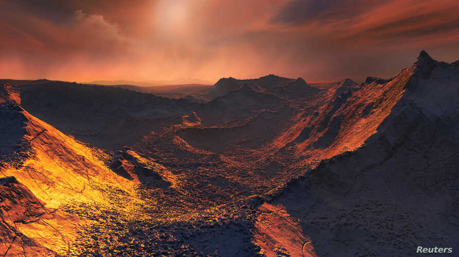 "An artistic impression of a sunset from Barnard's Star on a newly detected planet dubbed a ""Super-Earth,"" in this handout illustration provided Nov. 14, 2018. (M. Kornmesser/European Southern Observatory)"