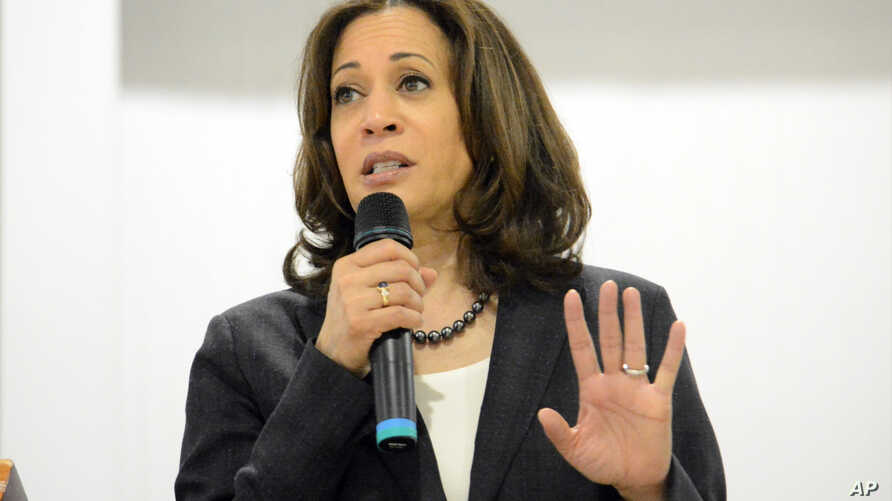 In this March 9, 2019, photo, Sen. Kamala Harris, D-Calif., speaks during an event in St. George, South Carolina.
