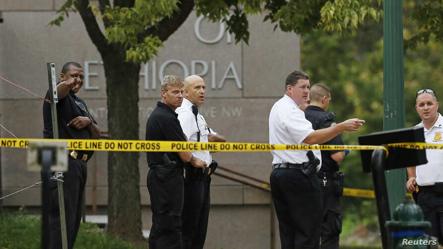 United States Secret Service police stand in front of the Ethiopian Embassy in Washington, D.C., Sept. 29, 2014.