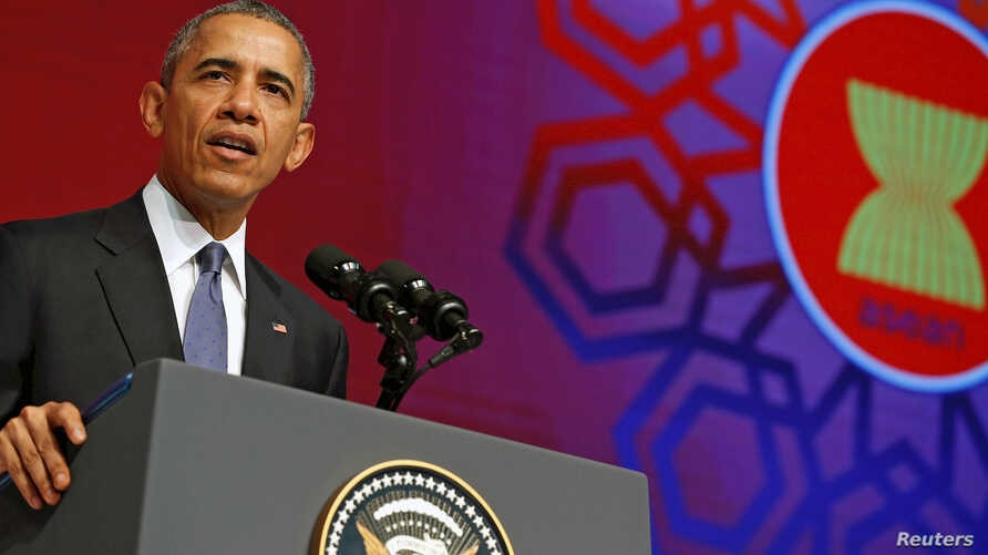 U.S. President Barack Obama delivers remarks at the ASEAN Business and Investment Summit in Kuala Lumpur, Malaysia Nov. 21, 2015.