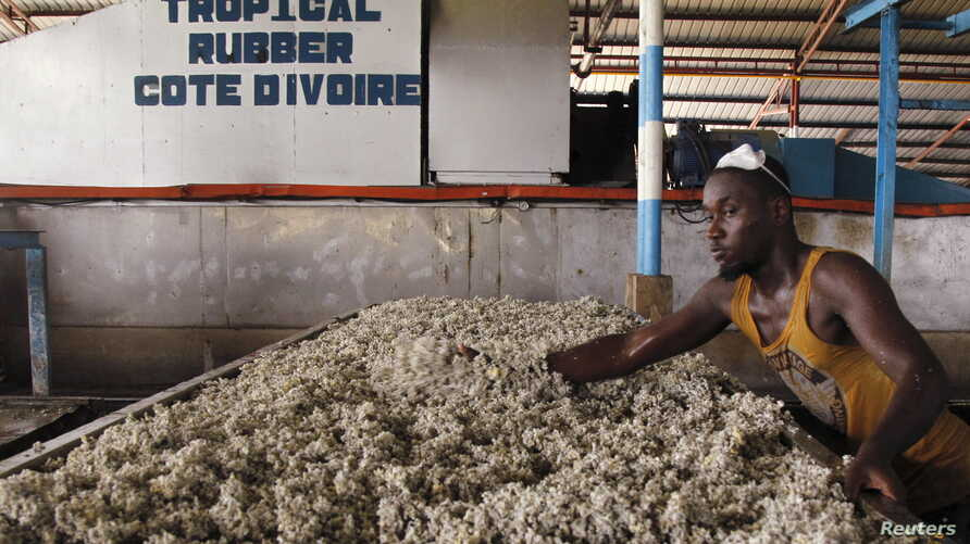 FILE - A man works at a rubber factory in Songon village, north of Abidjan, January 25, 2016.
