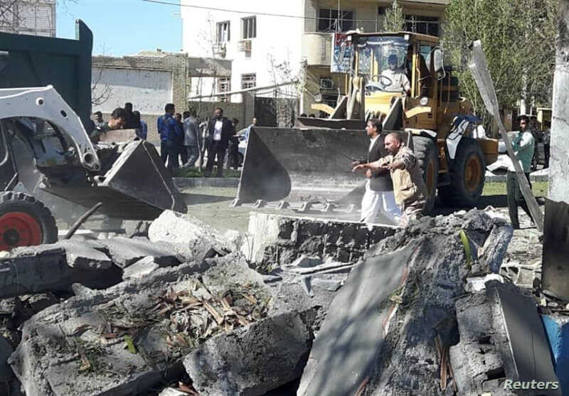 General view of damages after a bomb inside a car exploded outside a police station in Chabahar, Iran, Dec. 6, 2018.