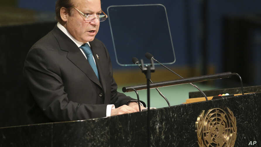 Pakistani Prime Minister Nawaz Sharif speaks during the 71st session of the United Nations General Assembly at U.N. headquarters in New York, Sept. 21, 2016.