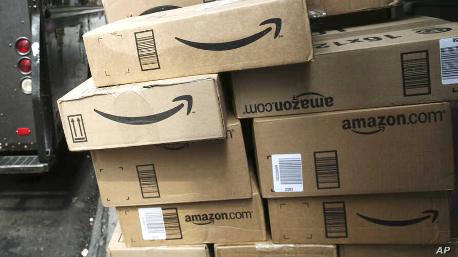 FILE - Packages from Amazon.com are delivered in New York.