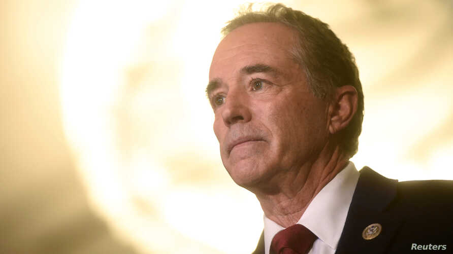 """FILE - U.S. Representative Chris Collins is interviewed during the 2017 """"Congress of Tomorrow"""" Joint Republican Issues Conference in Philadelphia, Pa., Jan. 25, 2017."""