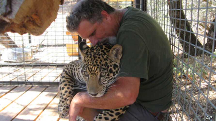 Dale Anderson with Morato, a jaguar he keeps in captivity at Cat Haven.