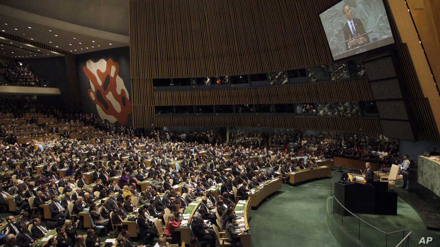 United States President Barack Obama addresses the 67th session of the United Nations General Assembly at U.N. Headquarters, September 25, 2012.