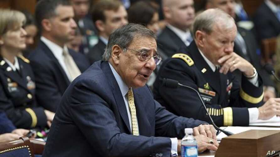 Defense Secretary Leon Panetta, left, accompanied by Joint Chiefs Chairman Gen. Martin Dempsey, testifies on Capitol Hill, April, 19, 2012, before the House Armed Services Committee hearing on recent developments with the crisis in Syria.