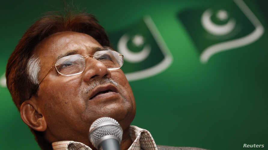 The former President of Pakistan, Pervez Musharraf, speaks at a news conference at a branch of his political party in east London January 19, 2012.