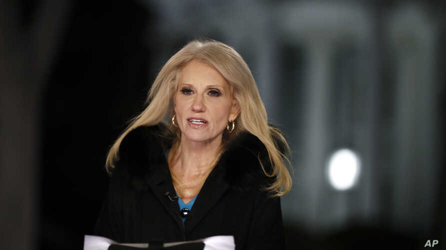Counselor to President Donald Trump Kellyanne Conway speaks during a television interview with the White House in the background, in Washington, Feb. 9, 2017, about the Federal appeals court refusal to reinstate President Donald Trump's travel ban.