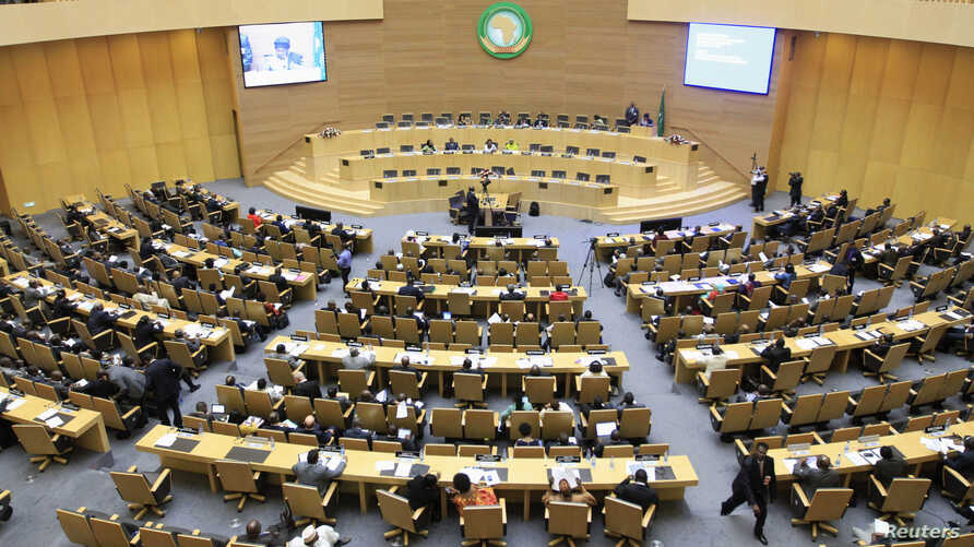 A general view shows the opening session of Heads of States and Government of the African Union on the case of African relationship with the International Criminal Court (ICC) in Ethiopia's capital Addis Ababa, Oct. 11, 2013.