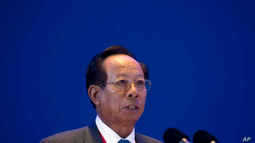 Cambodia's Defense Minister Tea Banh speaks at the Xiangshan Forum, a gathering of the region's security officials, in Beijing, Saturday, Oct. 17, 2015.