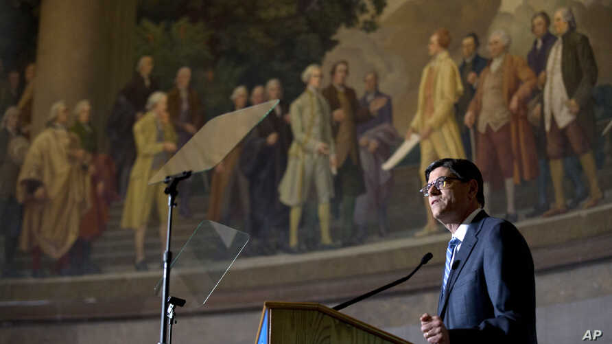 FILE - Treasury Secretary Jacob Lew speaks on redesign of the $10 note at the National Archives in Washington, June 18, 2015.