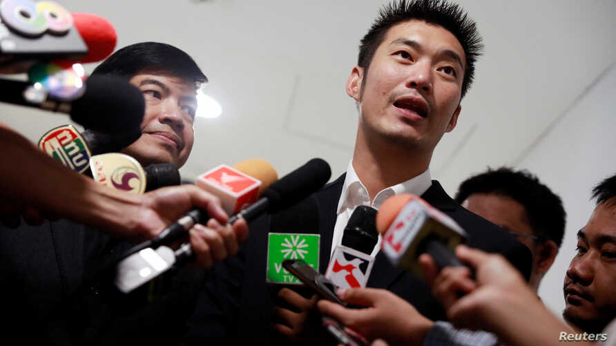 Thanathorn Juangroongruangkit, founder of Thailand's Future Forward Party, talks to journalists before leaving Technology Crime Suppression Division in Bangkok, Thailand, Sept. 17, 2018.