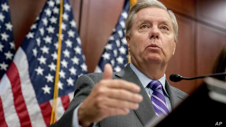 """FILE - Sen. Lindsey Graham, R-S.C., speaks during a news conference on Capitol Hill, Dec. 6, 2017, in Washington. Graham on Jan. 16, 2018, urged President Donald Trump to """"close this deal"""" on immigration reform."""