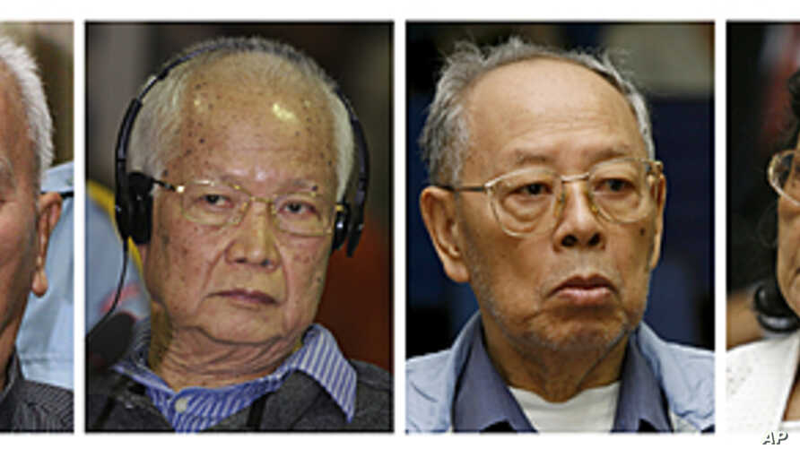 Four top surviving leaders of the Khmer Rouge regime from left to right: Nuon Chea, the group's ideologist; former head of state and public face of the regime, Khieu Samphan, former Foreign Minister Ieng Sary; and his wife Ieng Thirith, ex-minister f