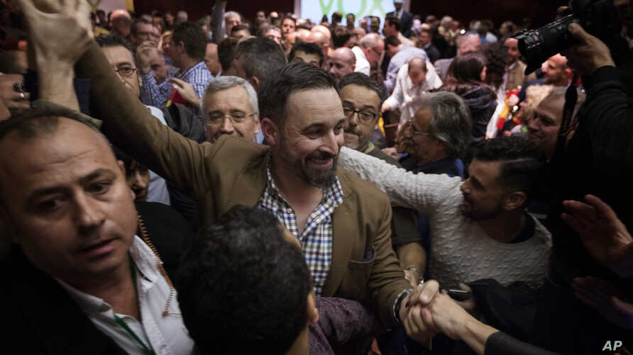 FILE - Spain's far-right Vox Party President Santiago Abascal arrives at a party rally in Murcia, Spain, Nov. 14, 2018.