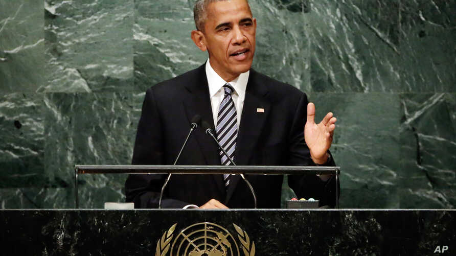 United States President Barack Obama addresses the 71st session of the United Nations General Assembly, at U.N. headquarters, Sept. 20, 2016.