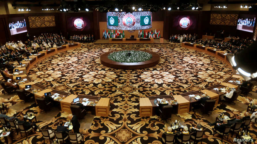 Arab leaders and head of delegations attend the 28th Ordinary Summit of the Arab League at the Dead Sea, Jordan, March 29, 2017.