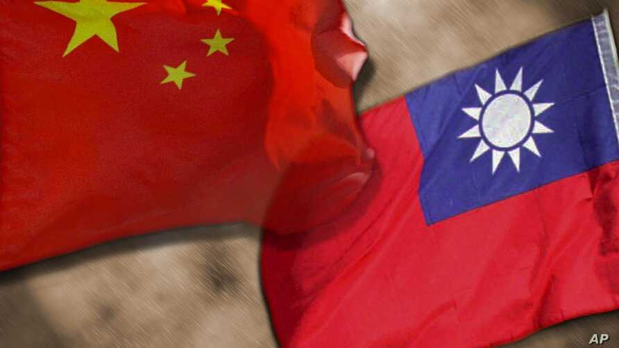 China and Taiwan flags, on texture graphic