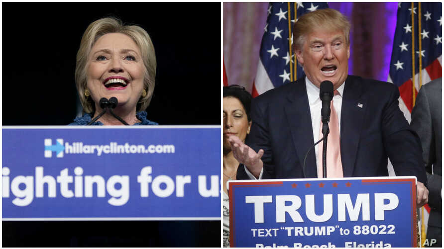 From left, Democratic U.S. presidential candidate Hillary Clinton speaks at a rally in West Palm Beach, Florida, while Republican presidential candidate Donald Trump speaks to supporters in Palm Beach, March 15, 2016.