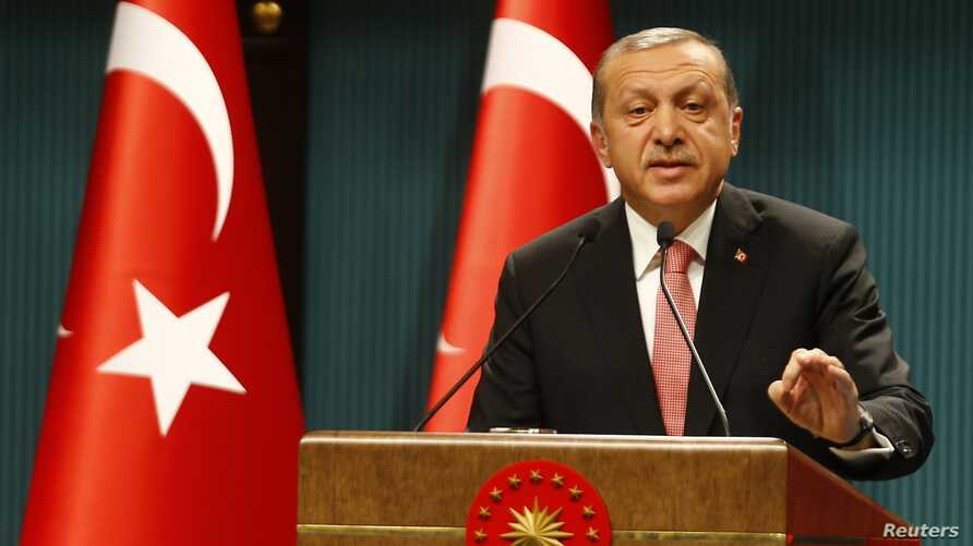 Turkish President Tayyip Erdogan speaks during a news conference following the National Security Council and cabinet meetings at the Presidential Palace in Ankara, July 20, 2016.