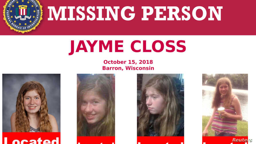 A U.S. Federal Bureau of Investigation missing person poster shows Jayme Closs, a 13-year-old Wisconsin girl, has been located in Gordon, Wisconsin, as seen in this poster provided Jan. 11, 2019.