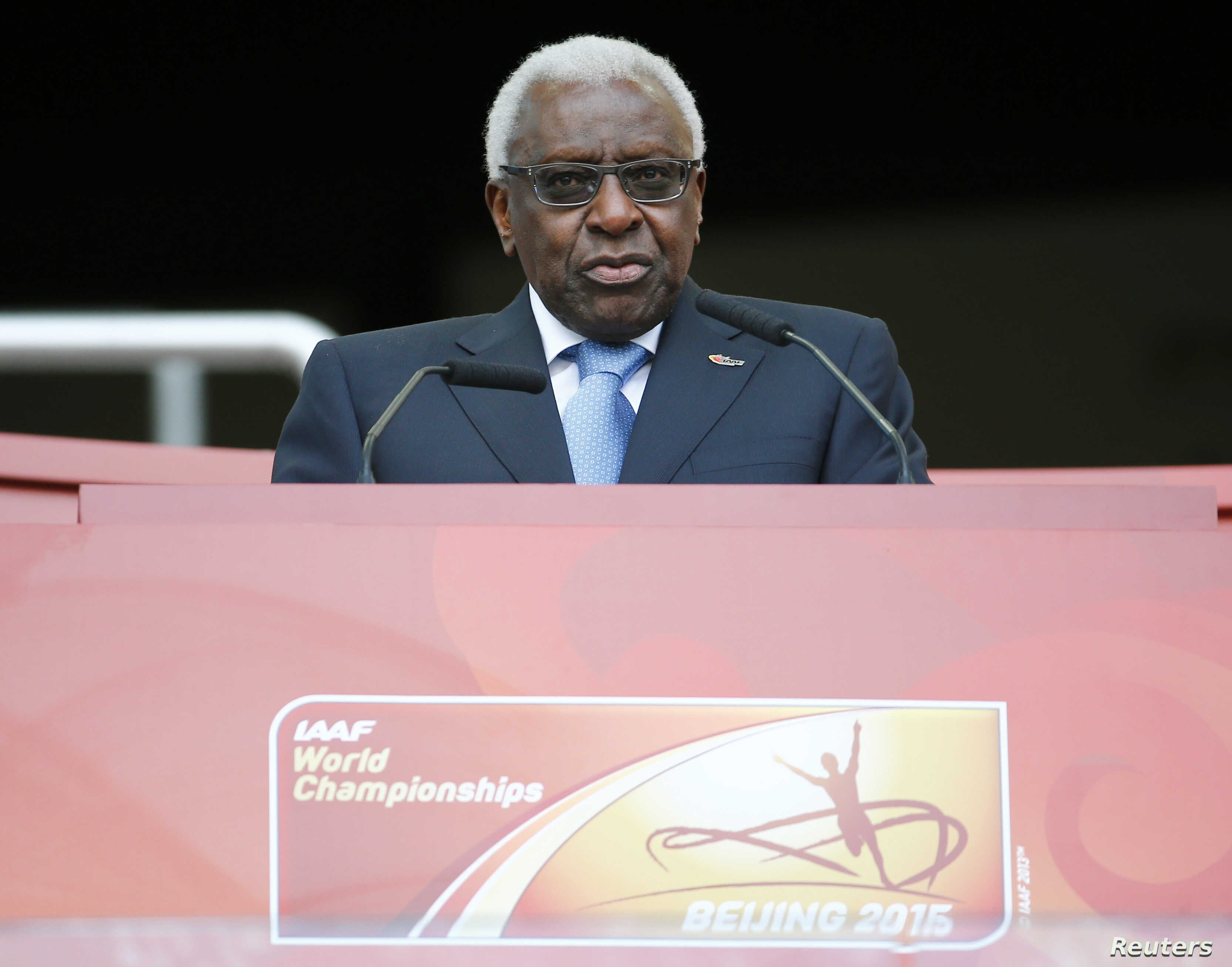 IAAF President Lamine Diack speaks during the opening ceremony of the 15th IAAF World Championships at the National Stadium in Beijing, China, Aug. 22, 2015.
