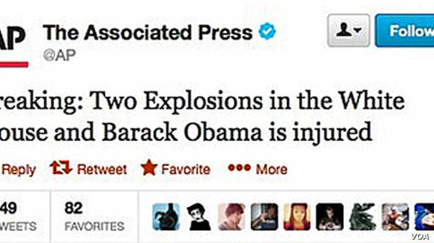 A screen shot of the tweet on AP's account, which later was dismissed as being fake.