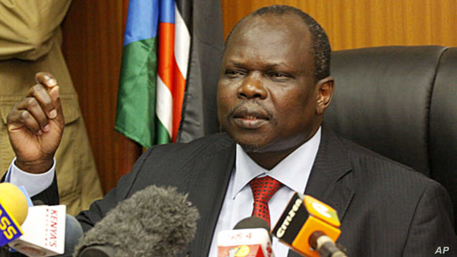 Secretary general of the Sudan People's Liberation Movement, and Chief Negotiator of southern Sudan Pagan Amum speaks during a press conference in Nairobi Kenya, April 13, 2012.