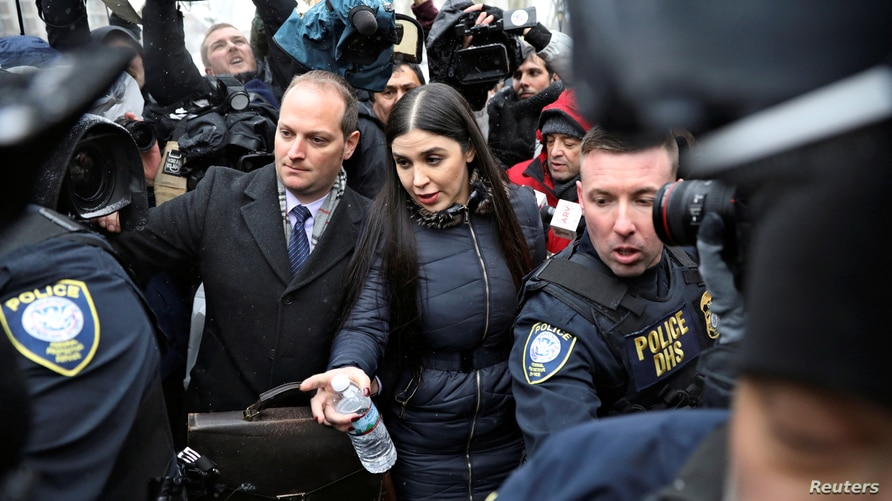 """Emma Coronel Aispuro, the wife of Joaquin Guzman, departs after the trial of Mexican drug lord Guzman, known as """"El Chapo"""", at the Brooklyn Federal Courthouse, in New York, U.S., February 12, 2019."""