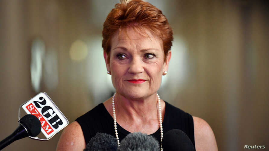 Australia's One Nation party leader Senator Pauline Hanson is pictured at a press conference at Parliament House in Canberra, Australia, Feb. 13, 2017.