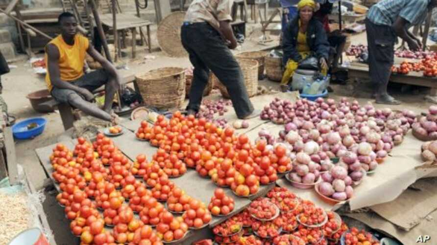 Vendors display their vegetables for sell but complain of low patronage because of hike in pump price that has affected cost of food stuff at Mile 12 market in Lagos, Nigeria. (File)