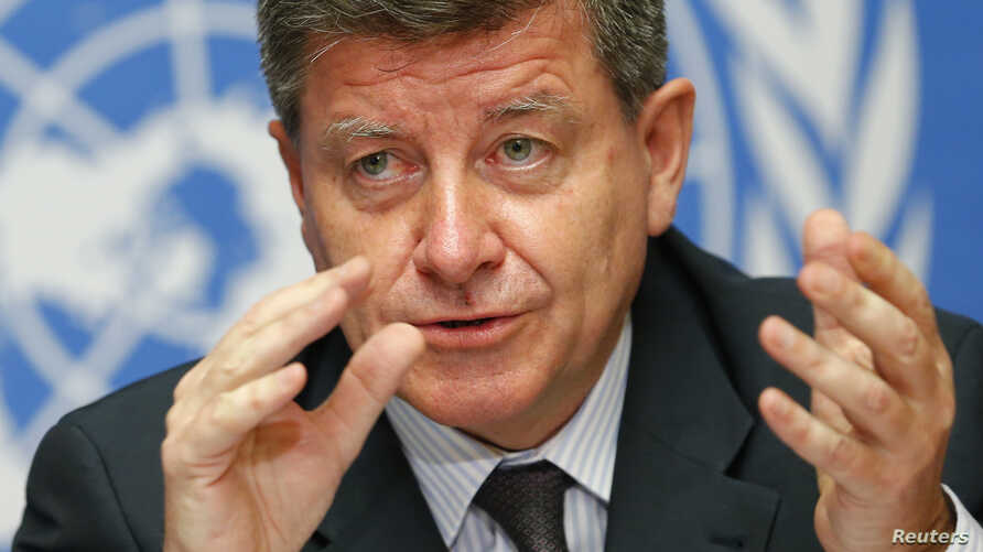 Guy Ryder, Director-General of the International Labor Organization (ILO) gestures during a news conference for the launch of the report: 'World of Work 2014: developing with jobs' at the United Nations European headquarters in Geneva, May 26, 2014.