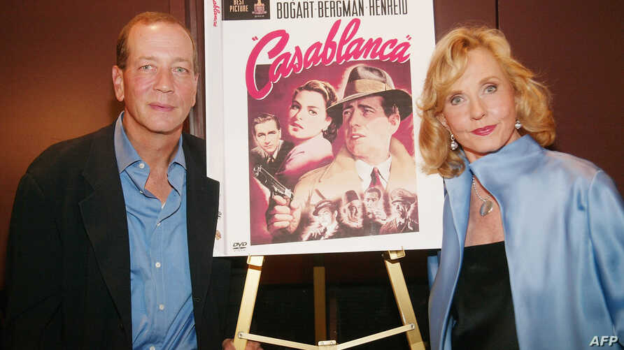 """Humphrey Bogart's son Stephen Bogart and Ingrid Bergman's daughter Pia Lindstrom attend the press conference for the 60th Anniversary of """"Casablanca"""" gala tribute screening and DVD release event at Alice Tully Hall, Lincoln Center, Aug. 11, 2003, in"""