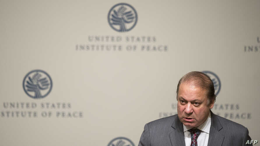 Pakistani Prime Minister Nawaz Sharif speaks at the U.S. Institute of Peace in Washington, D.C., October 22, 2013.