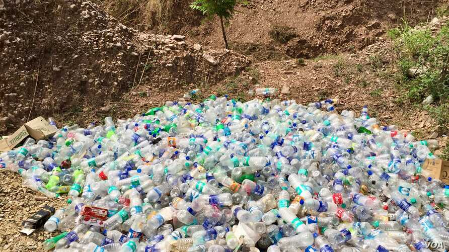Plastic bottles are dumped on the wayside in the northern state of Himachal Pradesh, India. The menace of plastic pollution has spread to the countryside and remote hills.