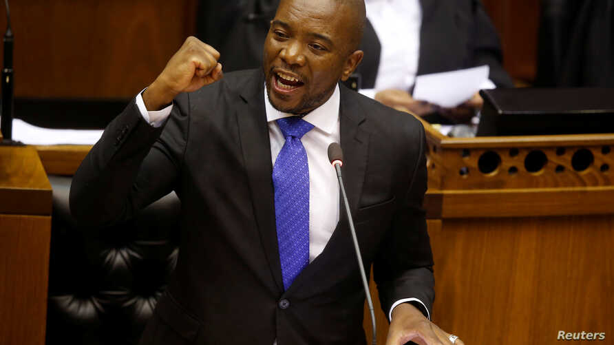 FILE - Opposition Democratic Alliance (DA) party leader Mmusi Maimane speaks during the motion of no confidence against South African president Jacob Zuma in parliament in Cape Town, South Africa, Aug. 8, 2017.