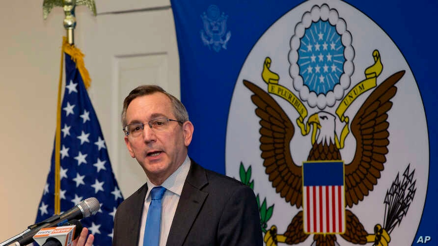 FILE - Scot Marciel, U.S. Ambassador to Myanmar, addresses the audience during his first public speech as the ambassador to Myanmar in Yangon, Myanmar, May 10, 2016. Marciel spoke on U.S.- Myanmar relations to an audience include journalists, educato