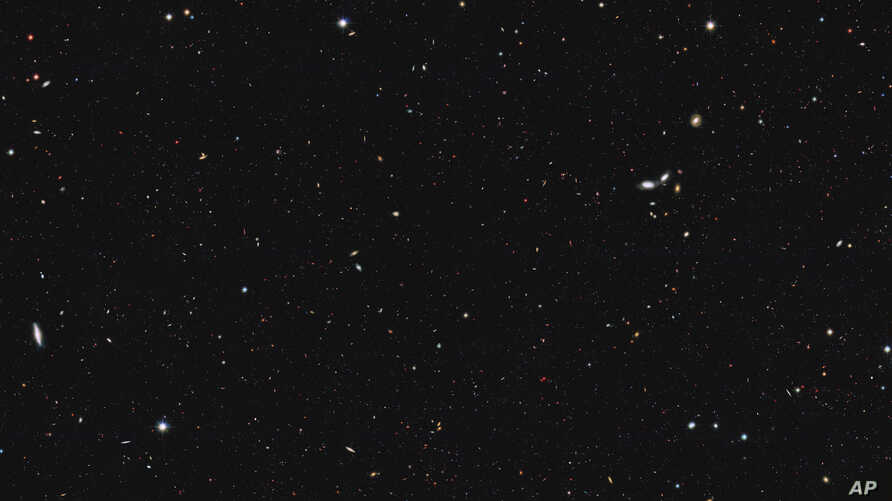 This image from NASA shows a portion of the southern field of the Great Observatories Origins Deep Survey to recalculate the total number of galaxies in the observable universe. In a report published Oct. 13, 2016, an international team of astronome